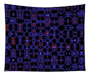 Blue Black Red Warp Abstract Tapestry