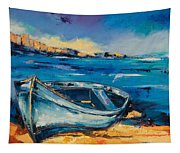 Blue Boat On The Mediterranean Beach Tapestry