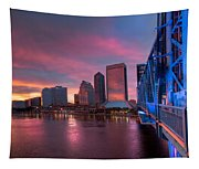Blue Bridge Red Sky Jacksonville Skyline Tapestry
