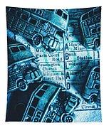 Blue Britain Bus Bill Tapestry
