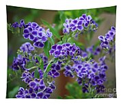 Blue Cottage Flowers Tapestry