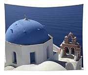 Blue Dome Pink Bell Tower Tapestry