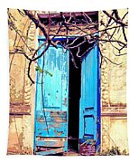 Blue Doors In Tuscany Tapestry