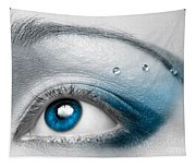 Blue Female Eye Macro With Artistic Make-up Tapestry