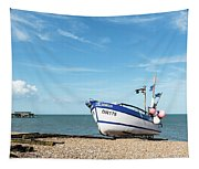 Blue Fishing Boat Tapestry