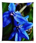 Blue Floral Tapestry