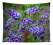 Blue Flowers Card Tapestry