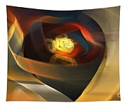 Blue Gold Ribbons Tapestry