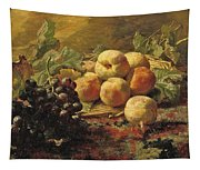 Blue Grapes And Peaches In A Wicker Basket Tapestry