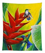 Blue-headed Hummingbirds And Heliconia Tapestry