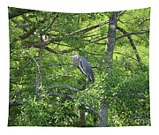 Blue Heron In Green Tree Tapestry