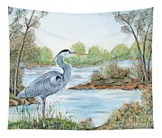 Blue Heron Of The Marshlands Tapestry