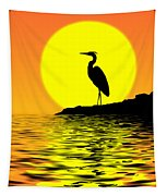 Blue Heron Sunset Tapestry