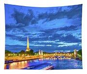 Blue Hour In Paris Tapestry