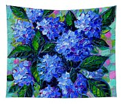 Blue Hydrangeas - Abstract Floral Composition Tapestry