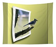 Blue Jay Perched Tapestry