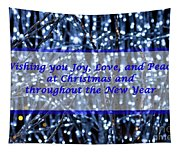 Blue Lights Abstract Christmas Tapestry