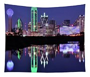 Blue Night And Reflections In Dallas Tapestry