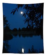 Blue Night Moon And Reflection Tapestry