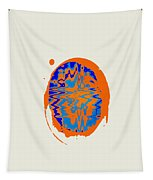 Blue Orange Abstract Art Tapestry
