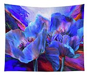 Blue Poppies On Red Tapestry