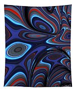 Blue Red Folds Tapestry