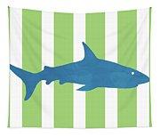 Blue Shark 2- Art By Linda Woods Tapestry