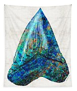 Blue Shark Tooth Art By Sharon Cummings Tapestry