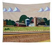 Blue Silo-marquetry-image Tapestry