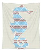 Blue Seahorse Art Tapestry
