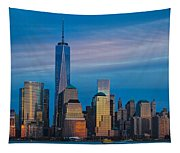 Blue Sunset At The World Trade Center Tapestry
