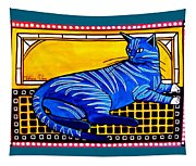 Blue Tabby - Cat Art By Dora Hathazi Mendes Tapestry