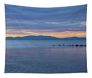 Blue Tahoe Sunset Tapestry
