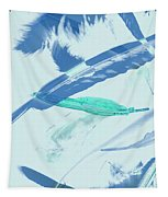 Blue Toned Artistic Feather Abstract Tapestry