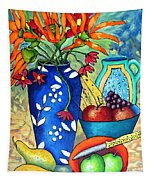 Blue Vase With Orange Flowers Tapestry