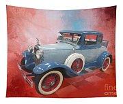 Blue Vintage Car Tapestry