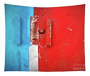 Blue Wall Red Door Tapestry