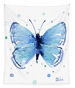 Blue Watercolor Butterfly Tapestry