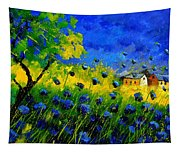 Blue Wild Flowers Tapestry