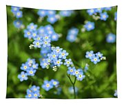 Blue Wildflowers Forget Me Nots Tapestry