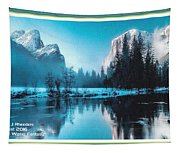 Blue Winter Fantasy. L A With Decorative Ornate Printed Frame. Tapestry