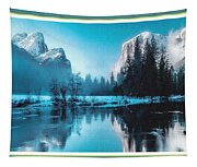 Blue Winter Fantasy. L B With Decorative Ornate Printed Frame. Tapestry