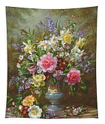 Bluebells Daffodils Primroses And Peonies In A Blue Vase Tapestry