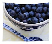 Blueberries In Polish Pottery Bowl Tapestry