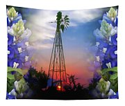Bluebonnets And Windmill Tapestry