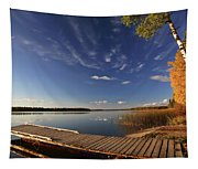 Boat Dock And Autumn Trees Along A Saskatchewan Lake Tapestry