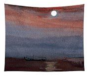 Boat In The Moon Tapestry