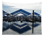 Boat Reflection On Lake Coeur D'alene Tapestry
