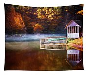 Boathouse In Autumn Oil Painting Tapestry