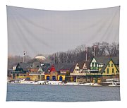 Boathouse Row On A Winter Morning Tapestry